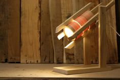 UFO Spacecraft Wooden Timber Rustic Desk Lamp I by WoodWarmth, $129.00