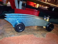Jaz's Pinewood Derby Car with paint job! The theme was X-Men and he chose Wolverine. #cubcontest