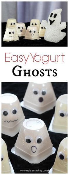 Really easy fun Halloween Food Idea for kids - Yogurt Ghosts - perfect for party food snacks and lunch boxes - Eats Amazing UK