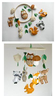 Woodland Mobile Woodland Kindergarten Mobile Tiere Mobile Woodland Kreaturen ... - #kindergarten #Mobile #tiere #woodland