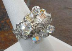 Dazzling Adjustable Silvertone Swarovski Crystal AB Cluster Ring   markalino - Jewelry on ArtFire