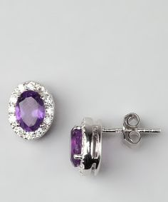 Can I have these orrrrr...? Purple Amethyst & Sterling Silver Stud Earrings.