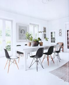 clean white dining space
