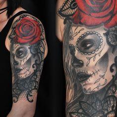 Tattoo rose sleeve black tat 22 ideas for 2019 Cool Tattoos For Guys, Trendy Tattoos, Black Tattoos, New Tattoos, Tattoos For Women, Tatoos, La Catarina Tattoo, Catrina Tattoo, Totenkopf Tattoos