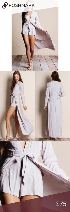 Silver Long Sleeve Maxi Romper Dress Long sleeve maxi with romper shorts. Junior sizing. Only this color available. Bare Anthology Dresses Maxi