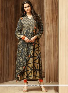 Design and trend will be on the peak of your beauty the moment you dresses this multi colour cotton party wear kurti. This attractive attire is displaying some remarkable embroidery done with print ...
