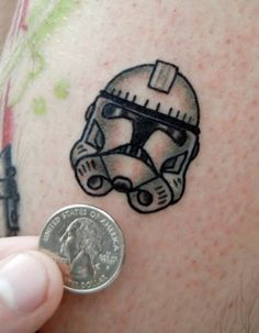 clone trooper star wars tattoo.  i like the idea of it being tiny to use as sleve filler