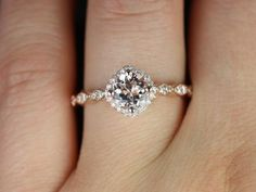 NEW Katya 14kt Rose Gold Thin Morganite Kite Set Cushion Halo WITHOUT Milgrain Engagement Ring (Other metals and stone options available). $795.00, via Etsy.
