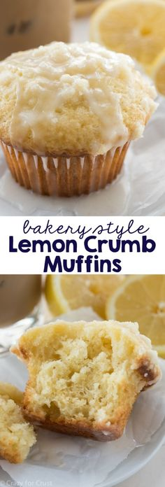 Crumb Muffins - an easy recipe for breakfast! Lemon muffins with a crunchy crumble topping - better than a bakery!Lemon Crumb Muffins - an easy recipe for breakfast! Lemon muffins with a crunchy crumble topping - better than a bakery! Lemon Desserts, Lemon Recipes, Just Desserts, Baking Recipes, Delicious Desserts, Dessert Recipes, Yummy Food, Easy Recipes, Sour Milk Recipes