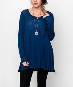 Look what I found on #zulily! Navy Crochet Pocket Tunic by Caralase #zulilyfinds