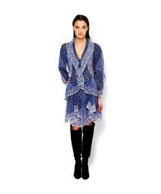 Marchesa blue ruffle dress