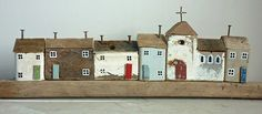 Just a short post this evening, I only wanted to show you something I made this afternoon. A little driftwood street, complete with. Kirsty Elson, Putz Houses, Wood Houses, Clay Houses, Driftwood Crafts, Ceramic Houses, Paper Houses, Miniature Houses, Little Houses