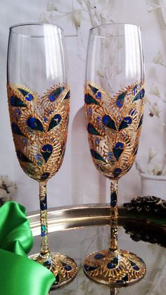 SET of 2 hand painted wedding champagne flutes Lace peacock feather heart in gold, turquoise and blue color by PaintedGlassBiliana