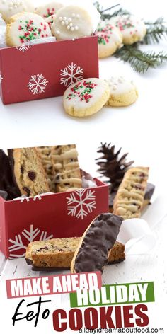 Best Low Carb Holiday Cookie Recipes Bake early, bake often, that's what I say! A fantastic collection of the best keto and low carb cookies that you can make ahead and freeze for the holidays. Perfect for meal planning and gift giving! Low Carb Cookies, Low Carb Sweets, Low Carb Desserts, Dessert Recipes, Ketogenic Desserts, Brownie Recipes, Dessert Ideas, Drink Recipes, Dinner Recipes