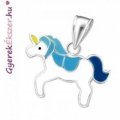 Kék köves virág akasztós fülbevaló #ezüst #fülbevaló #gyerek