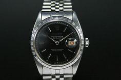 Rolex Datejust (ca. 1956)  Jubilee-Band, Schwarzes Zifferblatt, Strich Indexe  Referenz: 6605 | 0,16 Mio-Serie  http://www.juwelier-leopold.de/uhren/rolex/vintage.html