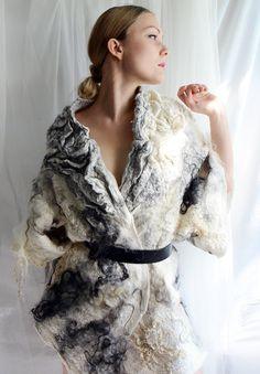 White and grey felt coat fur free kimono by vilte OOAK on Etsy, $1,699.00