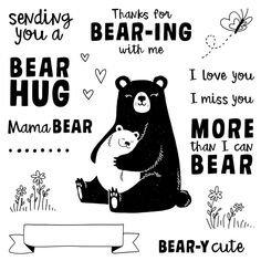 An adorable card created with Close To My Heart's July Stamp of the Month, Bear Hugs along with the Share the Joy Thin Cuts Dies. Close To My Heart, Love Heart, Minnie Baby, Happy Canada Day, Stamp Pad, Tatty Teddy, Happy Trails, Hug Me, Love You