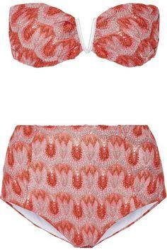 Missoni - Metallic Crochet-knit Bandeau Bikini - Bright pink