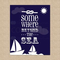 Somewhere Beyond the Sea Sailboat Art Print  8x10  by PaperRamma, $20.00