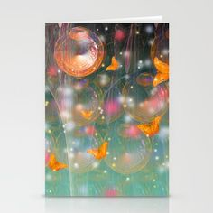 Entrance to the faerie worlds by Wendy Townrow, abstract, fractal, world, entrance, butterfly, butterflies, stars, faerie, fairy, magical, space, art, digital art, digital design, illustration, bold, vibrant, fantasy, worlds, planets, graphic design, #buyart, #society6, card, cards, card set, blank card, note card, greeting card