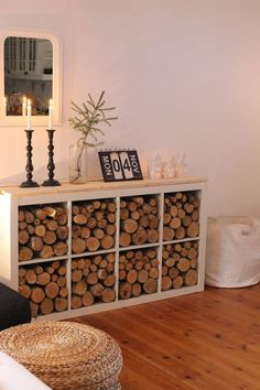 Shelf for wood pile. Living Room Decor On A Budget, Living Room Decor Inspiration, Living Room Colors, Home Living Room, Living Room Designs, Ikea Expedit Shelf, Wood Store, Firewood Storage, Piece A Vivre
