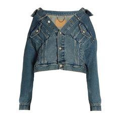 BALENCIAGA Off-the-shoulder denim jacket (8 820 SEK) ❤ liked on Polyvore featuring outerwear, jackets, shirts, jean jacket, long sleeve jean jacket, slim fit jean jacket, slim denim jacket and stitch jacket