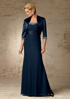 A-line Scoop neck Floor-length in Chiffon Mother of the Bride Dress