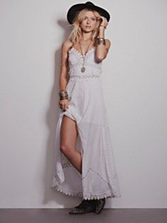 Beautiful bohemian white maxi dress featuring boho crochet trim along the wide length sleeves, square neckline, drop waist, low square back and ruffle trim. Makes a great wedding dress for a boho bride. Crochet Wedding Dresses, Bohemian Wedding Dresses, Gorgeous Wedding Dress, Dress Wedding, Bohemian Gown, Boho Dress, Bohemian Bride, Dresses For Sale, Cute Dresses