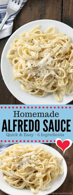 Homemade Alfredo Sauce Recipe (ready in 15 min!) - Snappy Gourmet Homemade Alfredo Sauce Recipe (ready in 15 min!) - Snappy Gourmet Homemade Alfredo Sauce recipe, an easy alfredo sauce with garlic, cream, and Parmesan cheese. Pasta Sauce Recipes, Easy Pasta Recipes, Healthy Recipes, Cooking Recipes, Pasta Ideas, Easy Pasta Sauce, Cream Sauce For Pasta, Noodle Sauce Recipe, Pizza Recipes