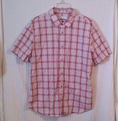 Calvin Klein XL Pink Gray Plaid Men's Button Down Short Sleeve Dress Shirt #CalvinKlein