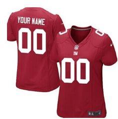 Women's Nike New York Giants Customized Red Jersey