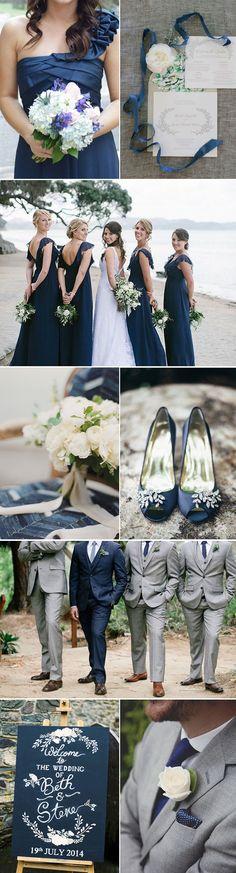 Indigo and Silver Wedding Ideas for Brides and Grooms.