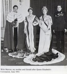 A family portrait of Princess Mary, Countess Harewood, with her two sons, George, who inheirted the title of Earl from his father, George's first wife, Marion, and her younger son Gerald at the Coronation of Queen Elizabeth II in 1953.