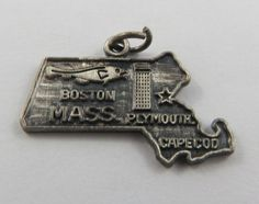 This is a vintage Map of Massachusetts State sterling silver charm for a charm bracelet. It weighs 2.55 grams and measures 1 x 3/4, marked STER  All