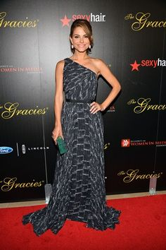 Maria Menounos at the 38th Annual Gracie Awards Gala in one of our favorite designers we carry in store, Pamella Roland.