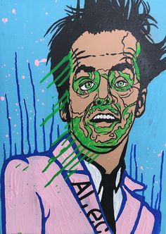 Jack Nicholson by Alec Monopoly   24 x 18 In   Acrylic on canvas