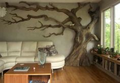 I have painted trees on walls but THIS .....WOW way better...