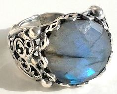 925 STERLING SILVER MEN'S RING WITH HANDMADE REAL COLOUR CHANGING  LABRADORITE #Handmade