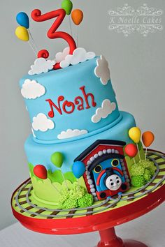 Thomas the Train cake by K Noelle Cakes & I made this for my 3 year old cousin who loves trains. all fondant ...