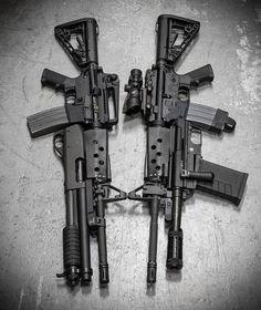 Via @metalhead_1 Heavy metal. @coltfirearms M4 with a C-MORE M26 12ga shotgun and @trijicon ACOG, and @coltfirearms 6920 with @knightarmco Master Key 12ga Remington 870 SBS at @otbfirearms. #badass #gunporn #gun #metalhead follow @readygunner#weap