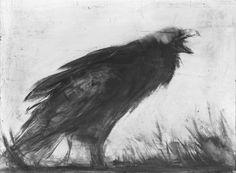 """inkofnowhere: """"  Crow pinceau Jax-hair + artgraf n°1 sur panneau enduit de gesso…"""