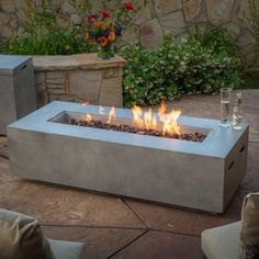 Noble House Alison 56 inch Rectangular MGO Fire Table, BTU with Tank Holder, Dark Grey - Couponscartel Fire Pit Ring, Diy Fire Pit, Fire Pit Backyard, Backyard Seating, Fire Pit Video, Fire Pit Gallery, Outside Fire Pits, Gas Fire Pits, Propane Fire Pit Table