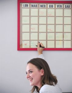 large frame and post its for calendar