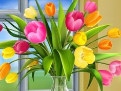Flowers Vase Art Wallpaper | Free Desktop Wallpapers