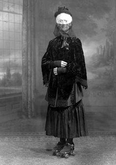Masked Woman on roller skates. Halloween Costume, 1910