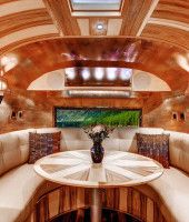 1956 Whale Tail Custom Airstream by Timeless Travel Trailers in Colorado Airstream Campers, Airstream Remodel, Airstream Renovation, Airstream Interior, Custom Trailers, Vintage Trailers, Airstream Flying Cloud, House Design, Interior Design