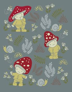 Melancholy Mushrooms Art Print by Monica Gifford