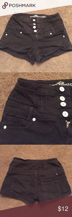 Black high waisted shorties Black 4 button high waisted Jean short shorts from Tilly's the light makes them look faded they are not. Very flattering fit ! They are not cheeky. Size 3 could fit size 1 as well. Almost Famous Shorts Jean Shorts