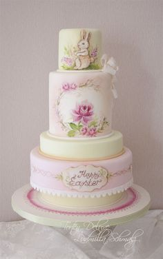 Easter Love Cake ~  Hand painted Easter Cake, with Roses and hand painted Ruffles
